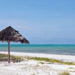 De middagzon op het strand van Zanzibar