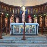 Het altaar van de anglicaanse kerk op de voormalige slavenmarkt