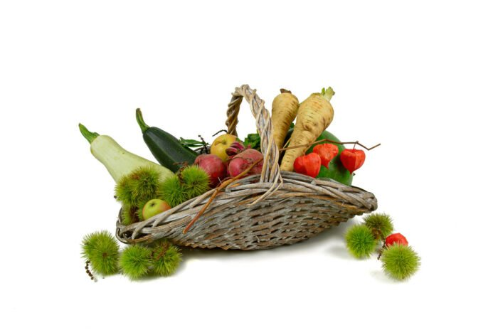 Een herfstmand voor groente en fruit