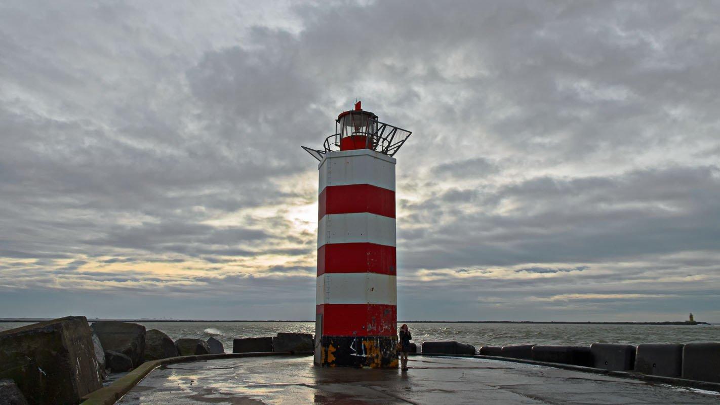 De vuurtoren van de noordpier van IJmuiden