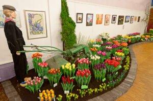 Opstelling van tulpen in de flora van Bovenkarspel