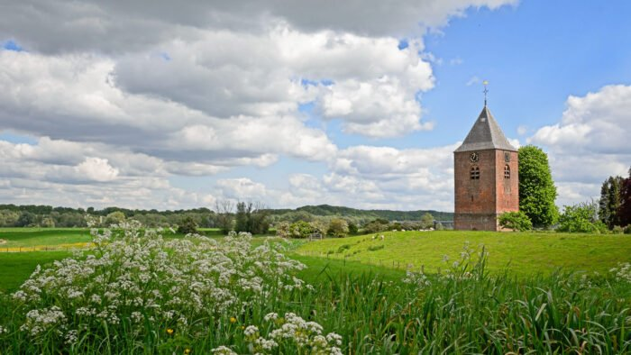 Uitzicht op uiterwaarden en de toren van de hervormde kerk in Heteren