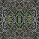 Caleidoscoop gemaakt van een foto van rijp op straatstenen met m
