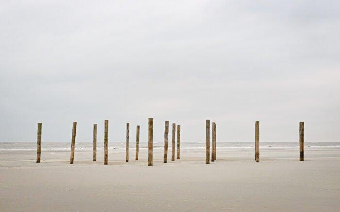 Palen op het lege strand van Schiermonnikoog