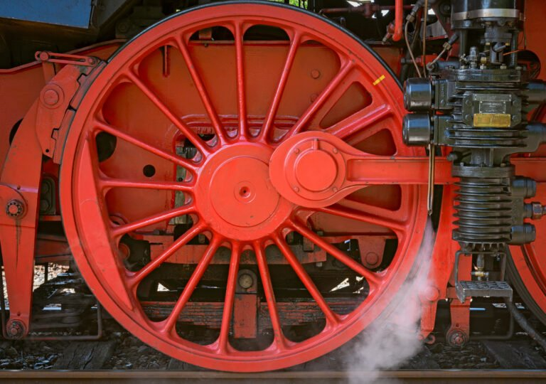 Red wheel of an steam locomative